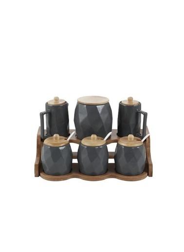 Acar YAM-010884/4 Acar Landry 6'Lı Bambu Standlı Porselen Yağlık-Baharat Takımı Füme Yam-010884/4 Renkli